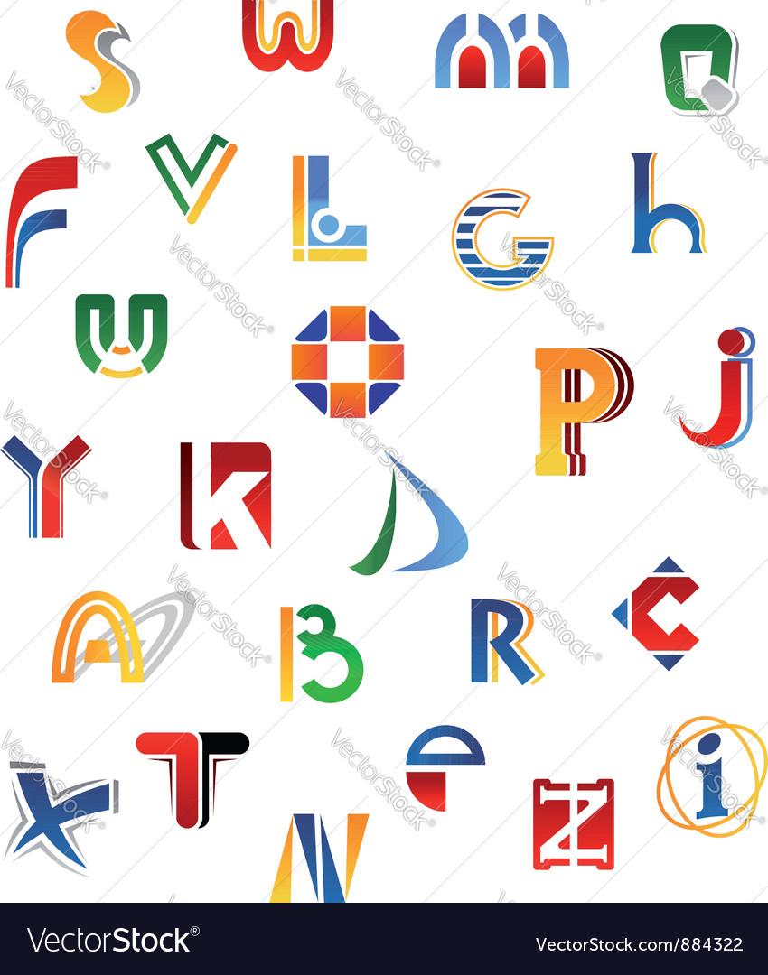 Set of full alphabet letters
