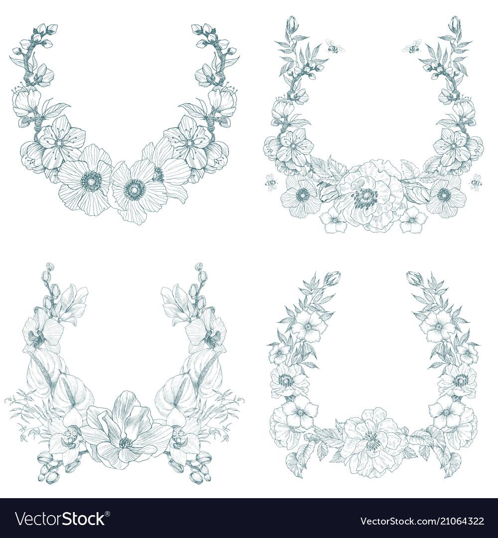 Set of vintage frame border monogram floral