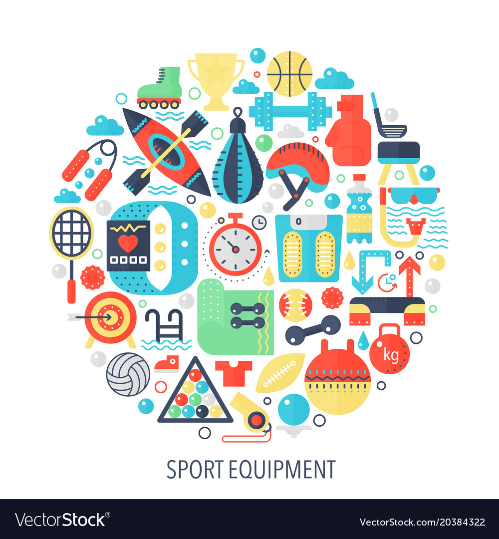 Sport fitness equipment flat infographics icons in
