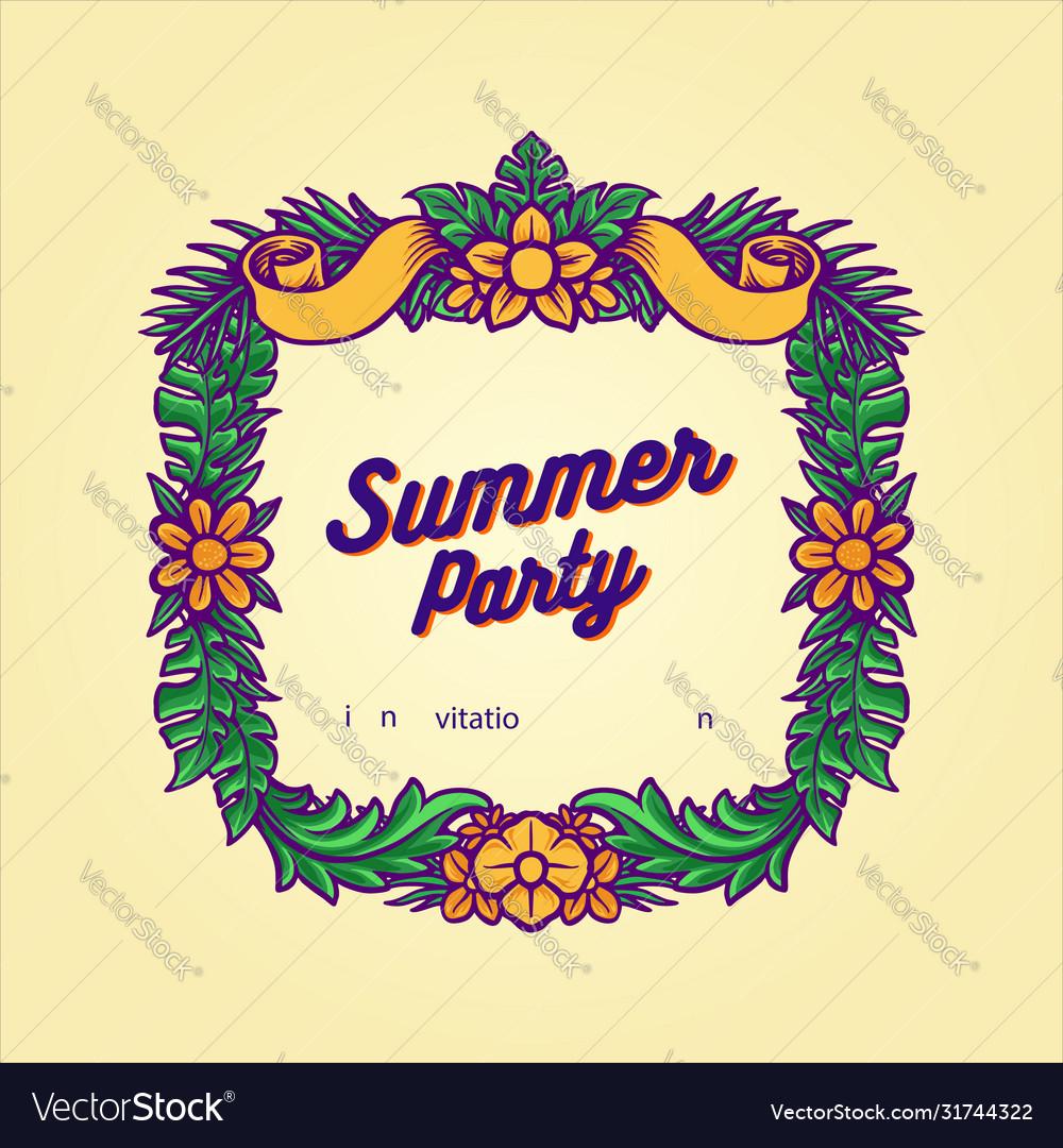 Summer party frame hawaii