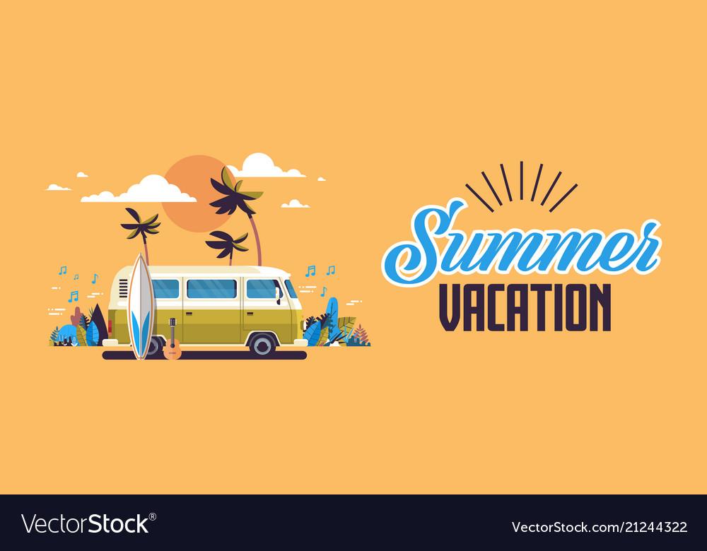 Summer vacation surf bus sunset tropical beach