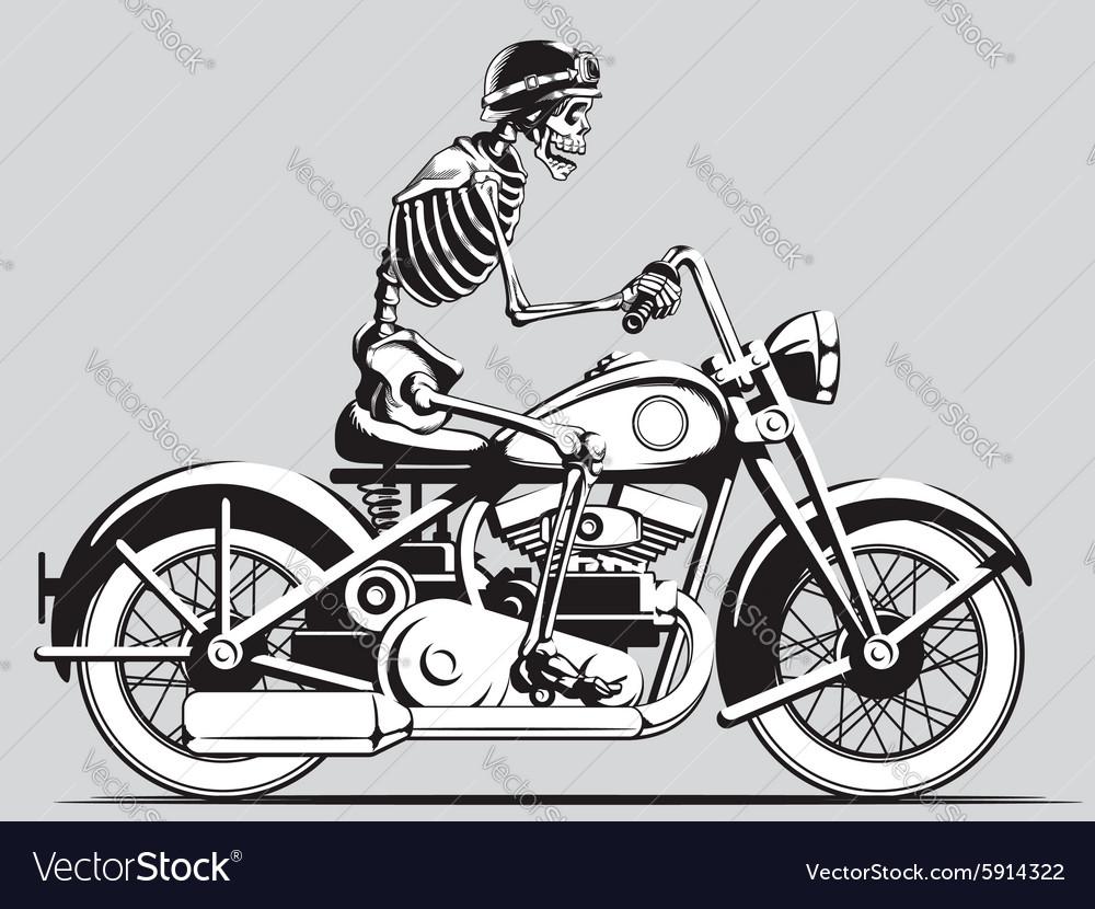 Vintage skeleton biker silhouette