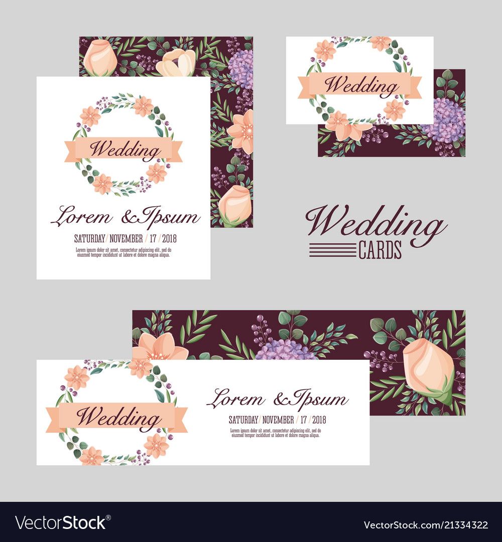 Wedding set cards flowers romantic design