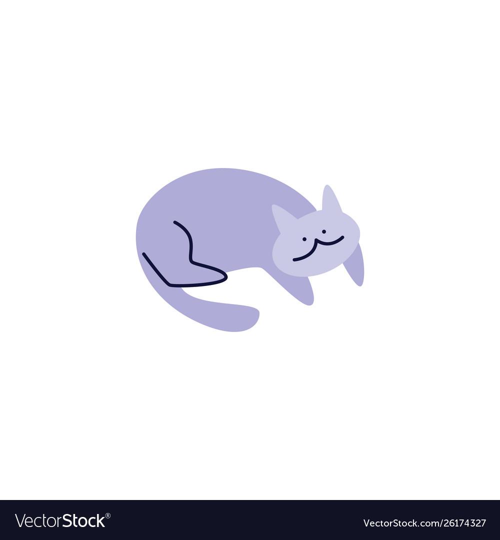 Cute pleased pet cat or kitten laying flat
