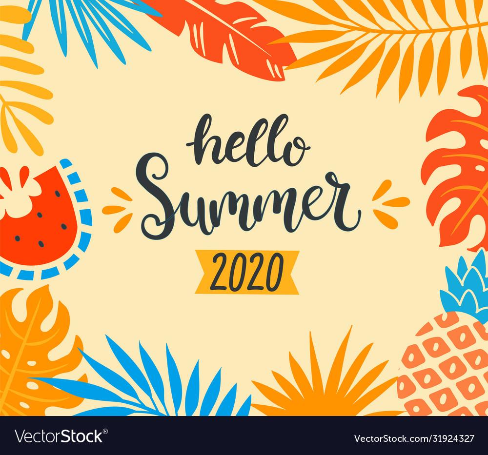 Hello summer 2020 tropical banner
