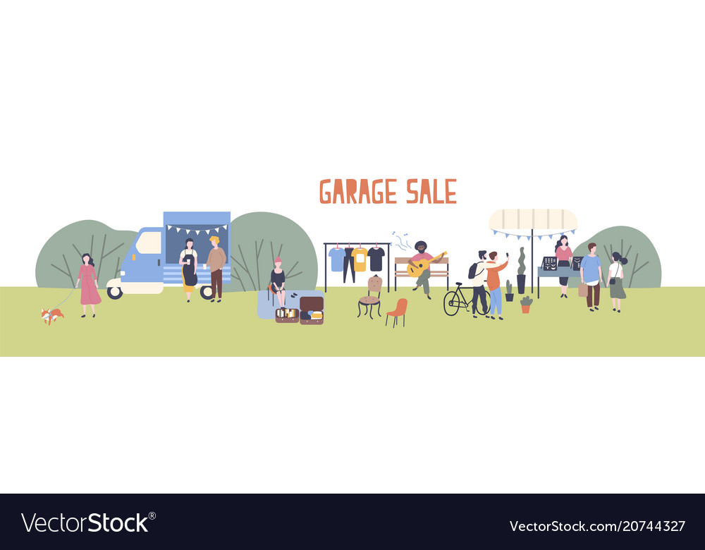 horizontal web banner template for garage sale or vector image