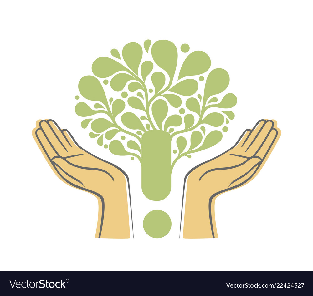 Human hands holding green tree symbol concept