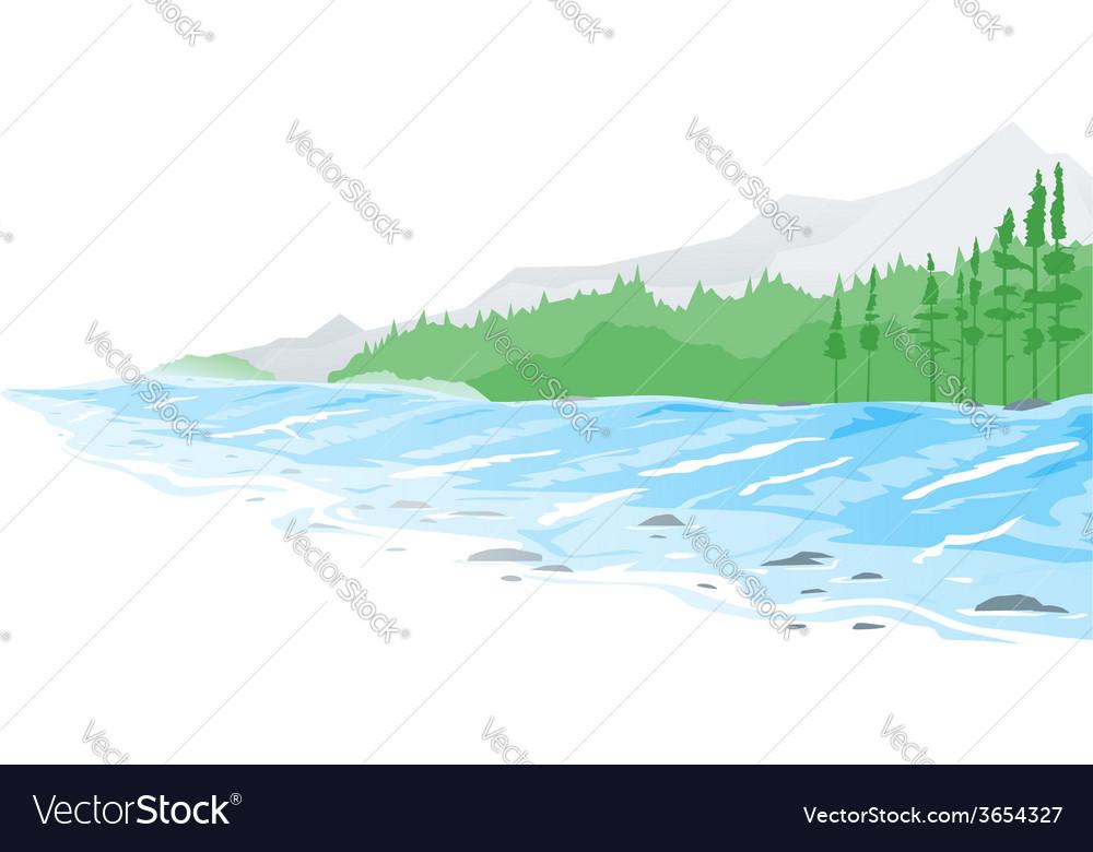 mountain river royalty free vector image vectorstock vectorstock