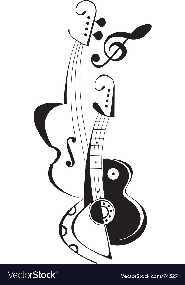 Vector string instruments - guitar and fiddle. Violin key. Musical tattoo