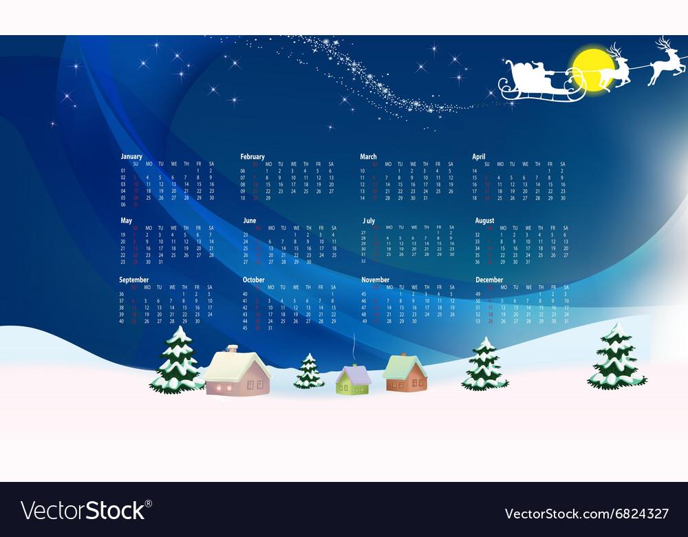 New year festive calendar for 2016