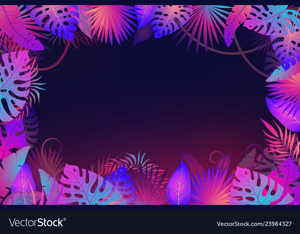 Palm leaves frame exotic night jungle tropical