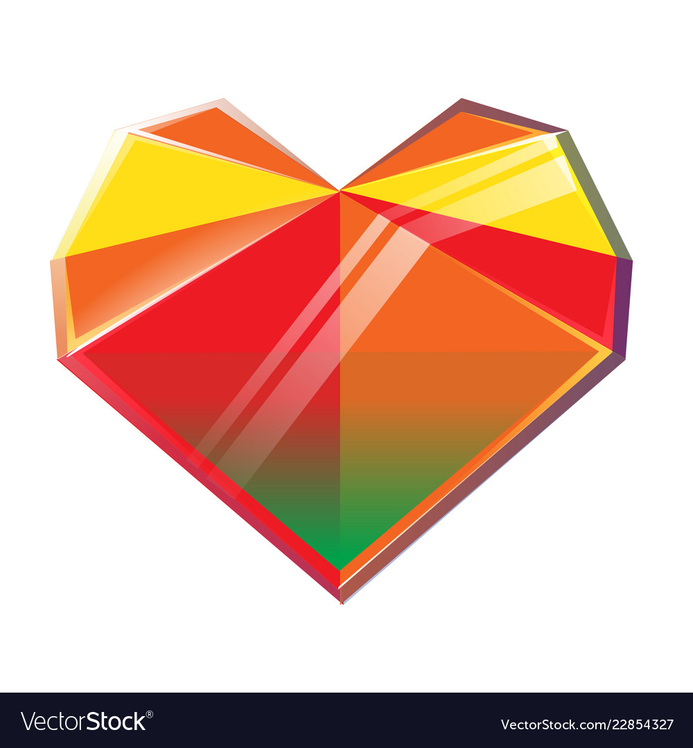 Polygonal multicolored crystal heart isolated on