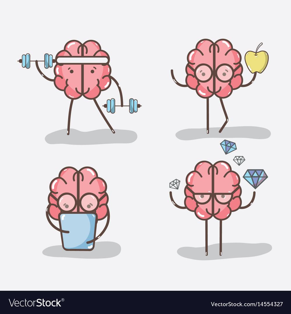 Set icon adorable kawaii brain doing different