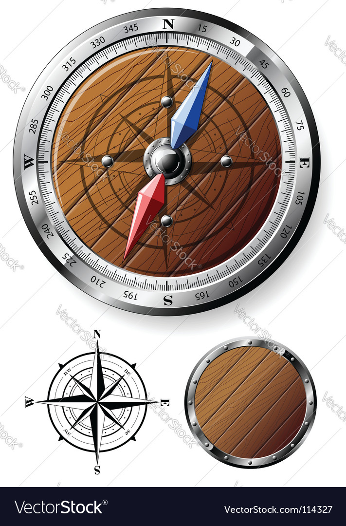 Wooden compass vector image