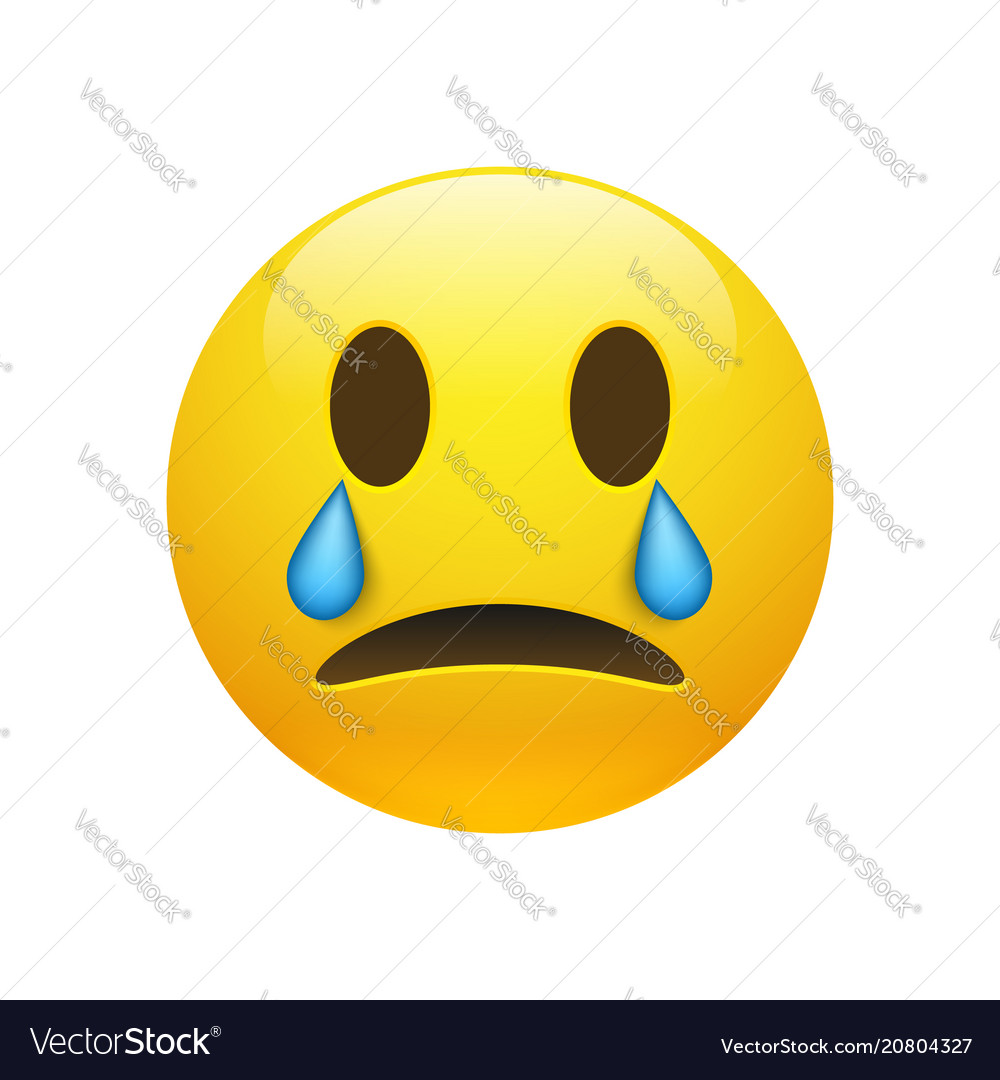Yellow crying emoticon with opened eyes