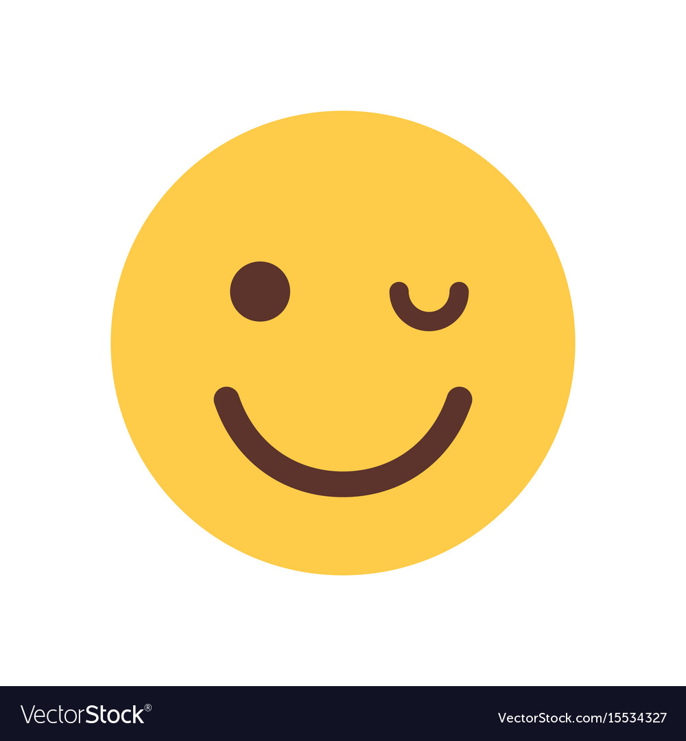 Yellow smiling cartoon face winking emoji people vector image