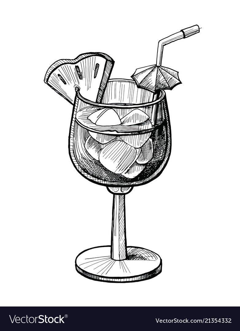 Alcohol cocktail hand drawn