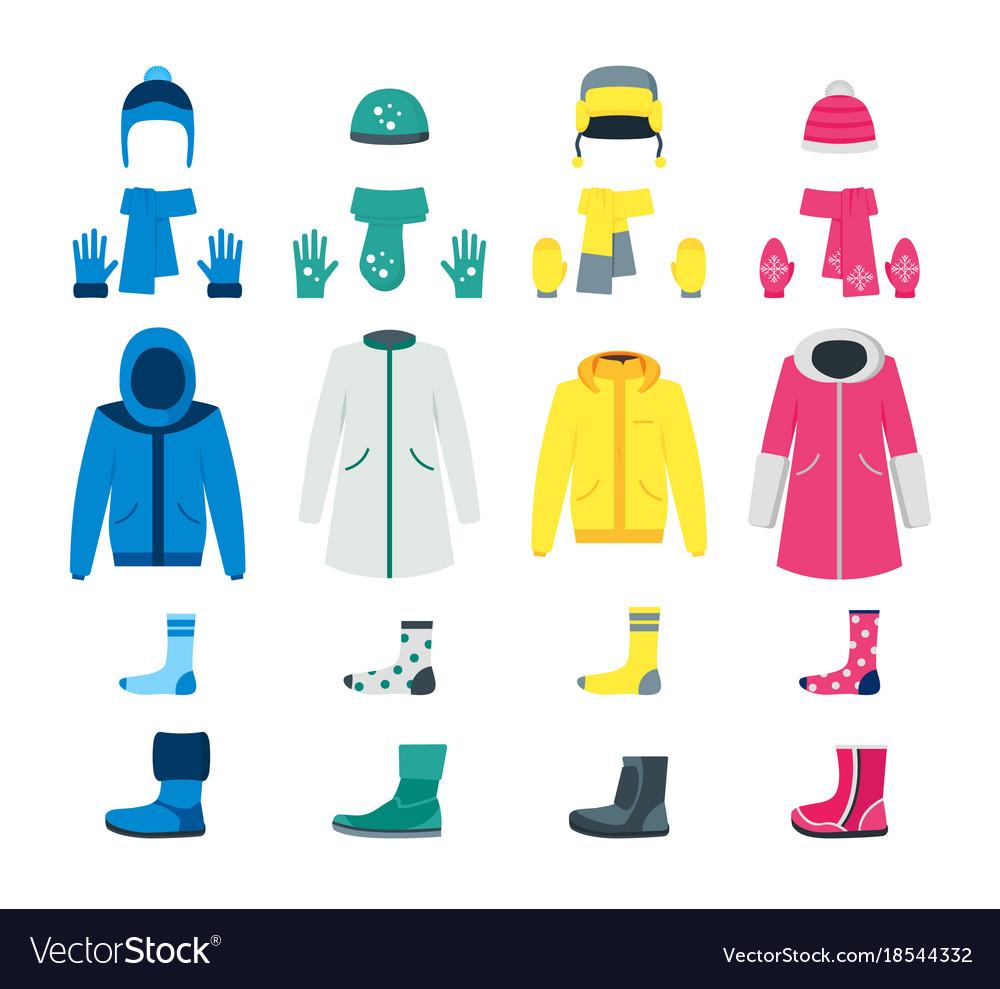 cartoon color winter clothes icon set royalty free vector
