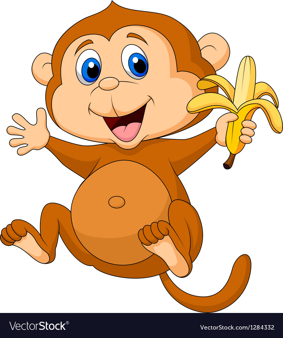 monkey pictures cartoon cute monkey cartoon eating banana royalty free vector image 6556