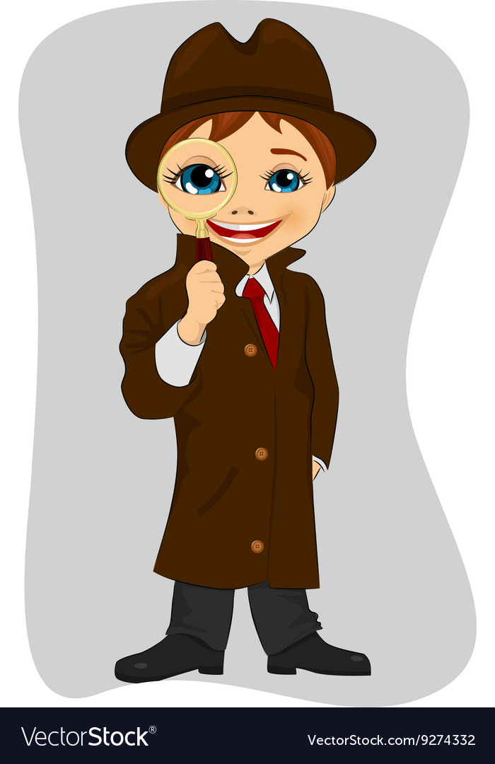 Detective boy looking through magnifying glass