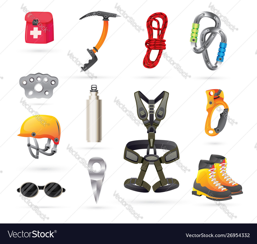 Equipment for mountaineering and hiking icons set
