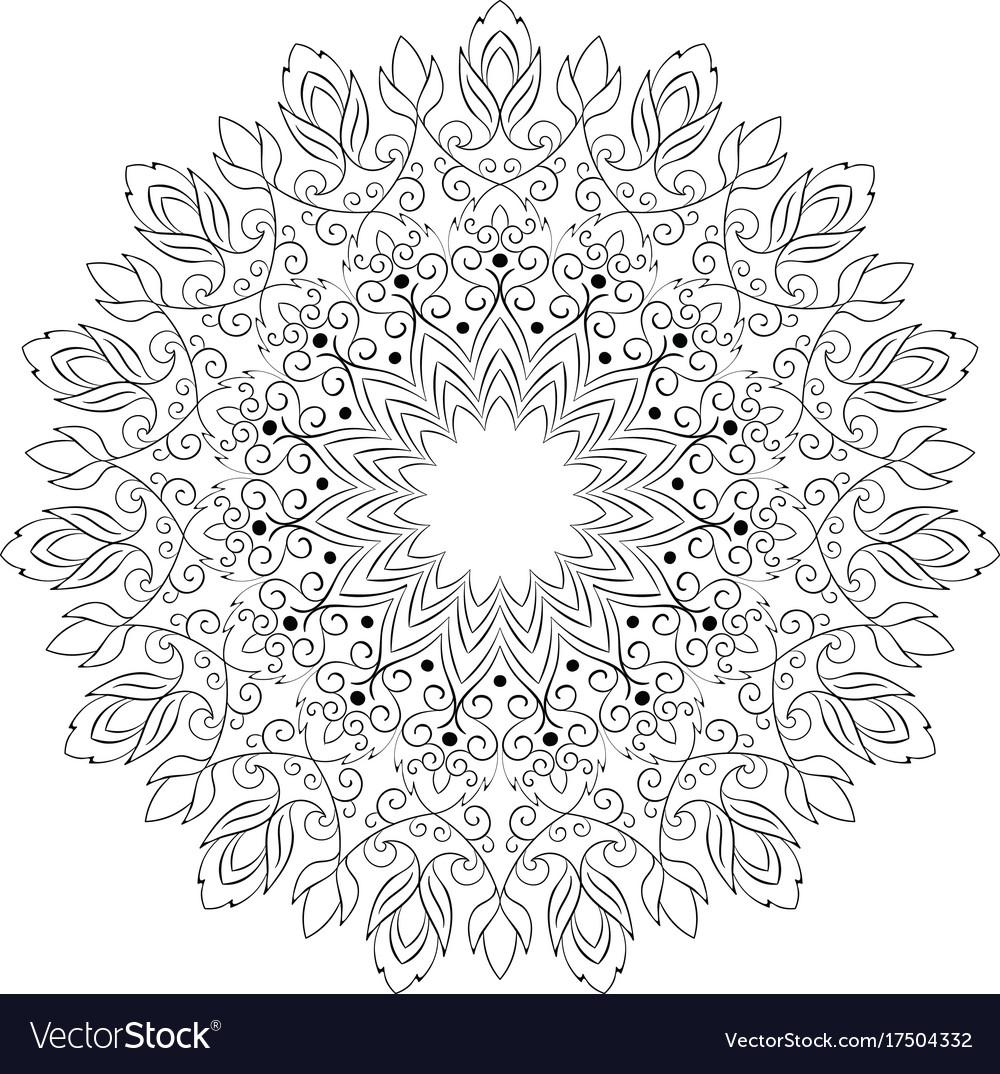 Flower round ornament mandala vintage decorative