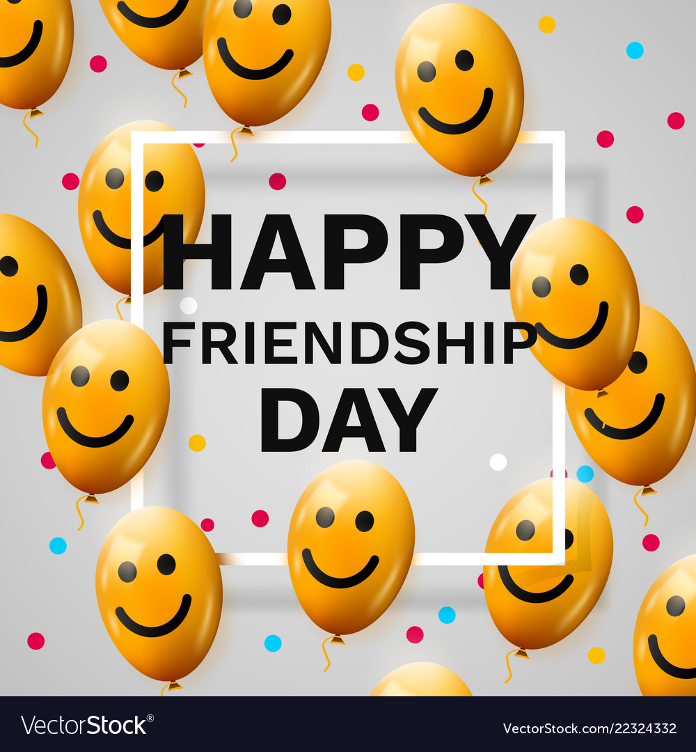 Happy friendship day greeting card with frame and