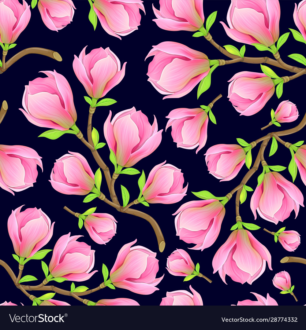 Magnolia branch seamless pattern