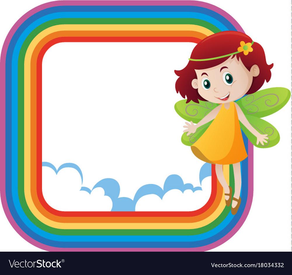 Rainbow frame with cute fairy flying Royalty Free Vector