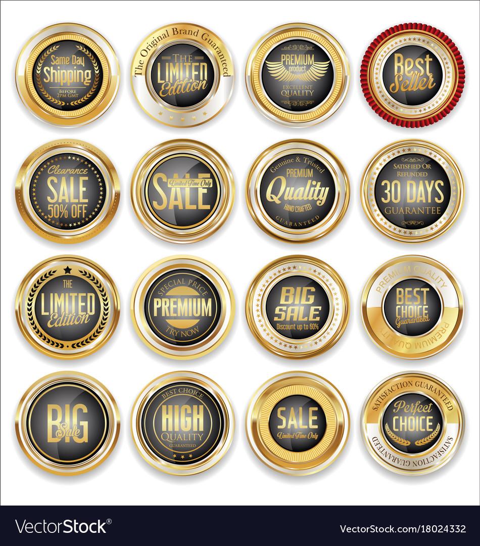 Sale retro vintage golden badges and labels 04 vector image