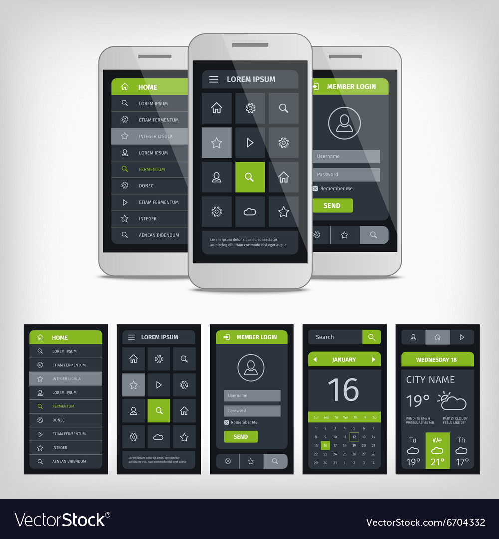 Set of mobile user aplication interface template