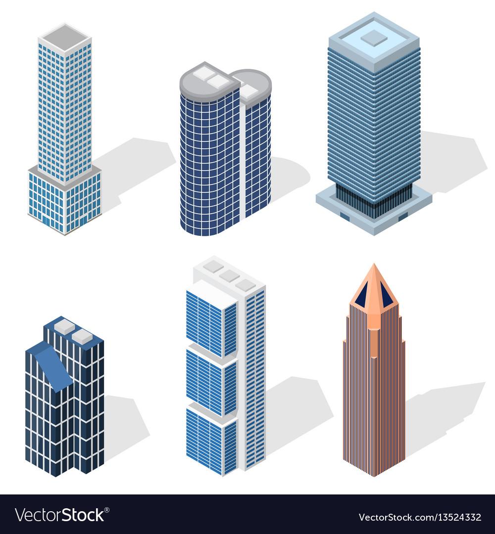 Skyscraper building set isometric view vector image