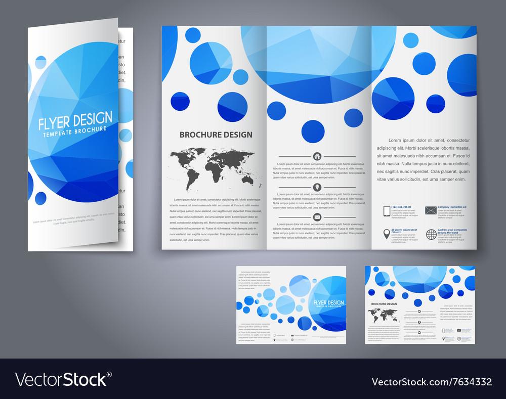 template design three fold flyer brochure vector image