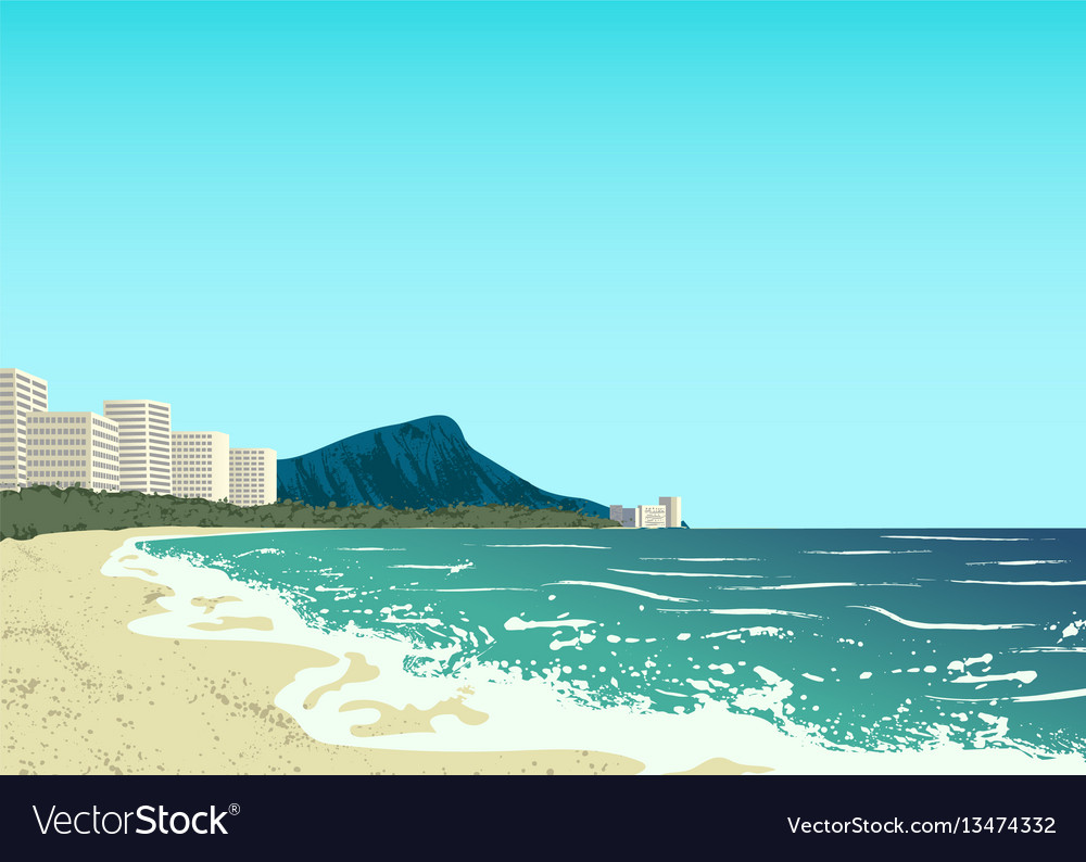 Waikiki beach of oahu island