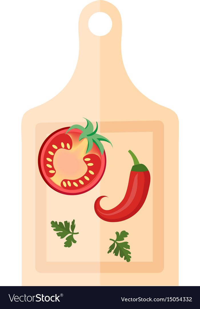 Wooden board for cutting vegetables with peppers vector image