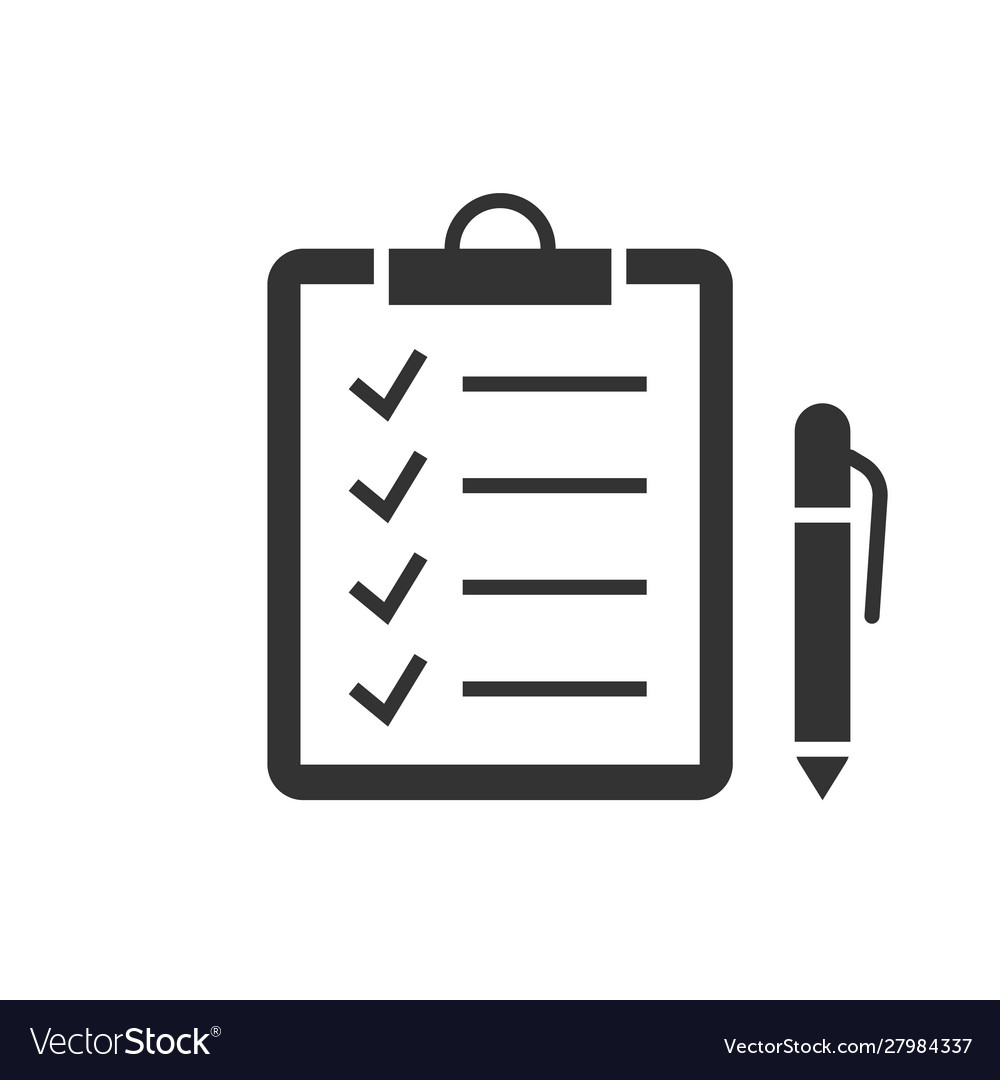 Check marks on clipboard black icon on white