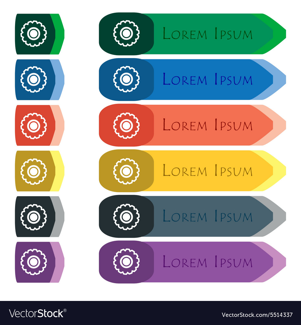 Cogwheel icon sign Set of colorful bright long