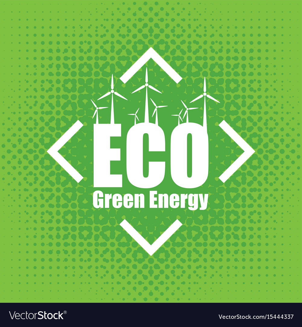 Concept of green energy with wind turbines vector image