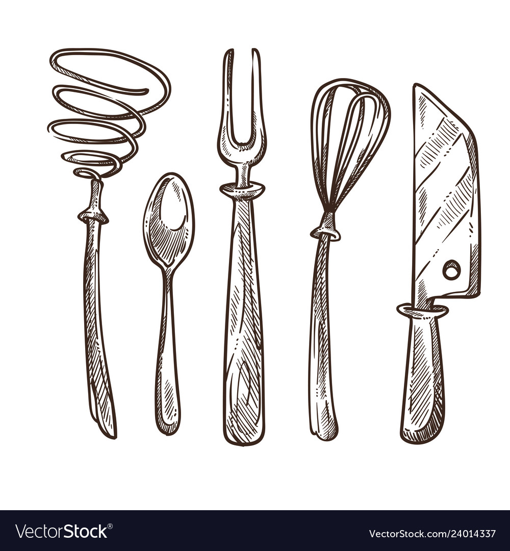 Cutlery and utensils used while cooking lunch or vector