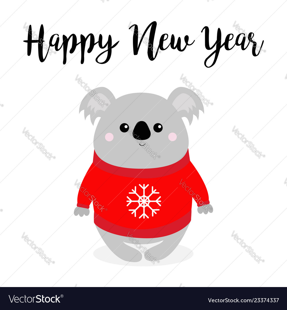 Happy new year koala in red ugly sweater with