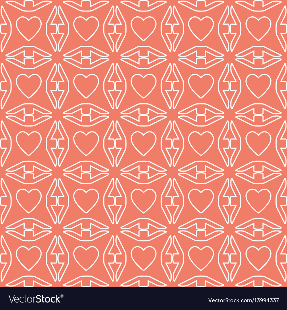Heart white line valentine day design pattern on vector image