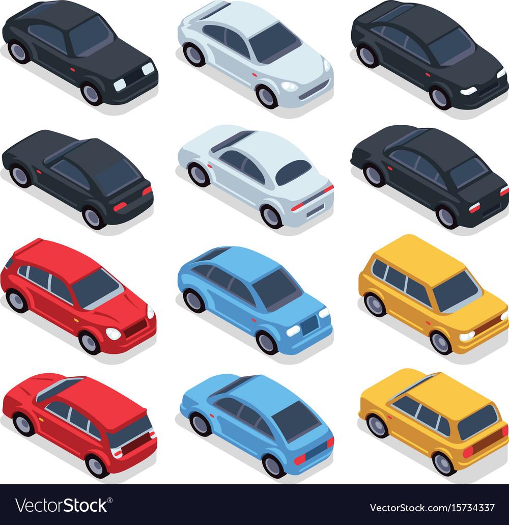 Isometric 3d cars transportation technology vector image