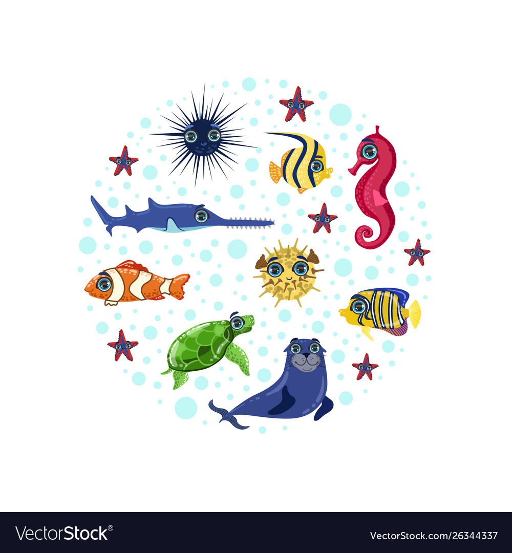 Sea animals seamless pattern round shape