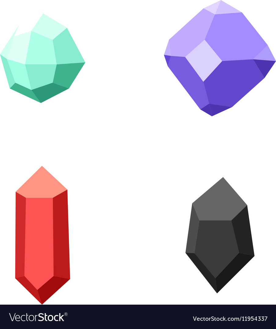 Set of 4 different gemstones diamonds isolated