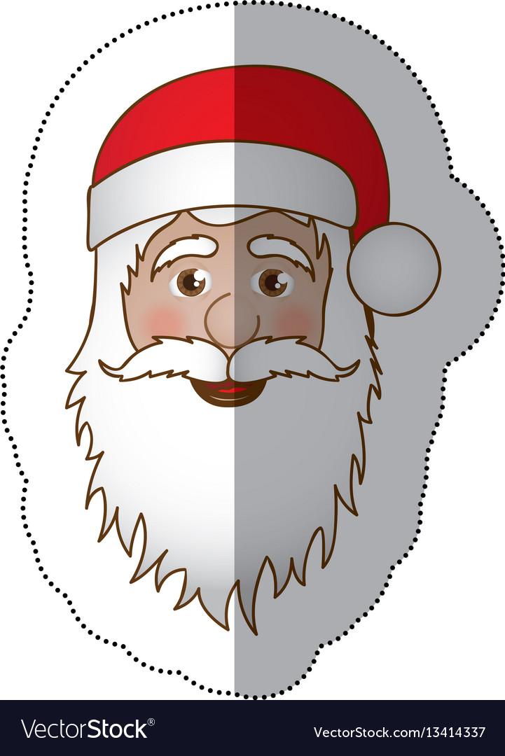 Sticker face cartoon santa claus portrait icon