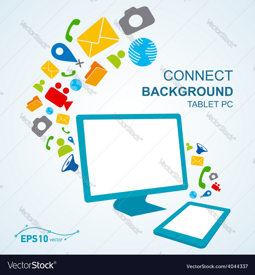 Tablet pc copy file computer no effect vector image