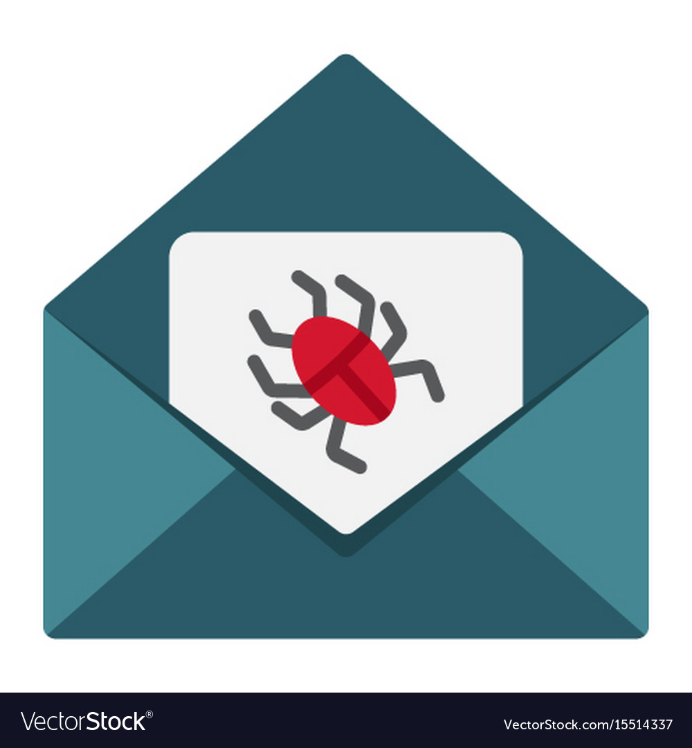 Virus in email flat icon spam and security