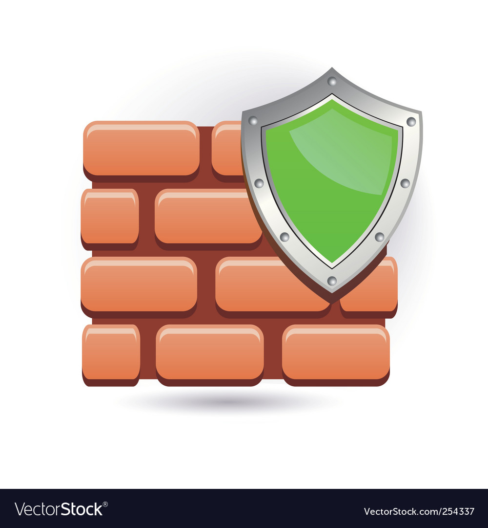 Wall and shield vector image