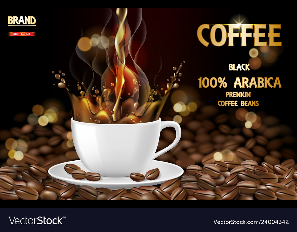 Arabica black coffee cup with splash and beans ads