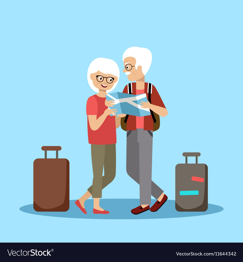 Couple of elderly people travel